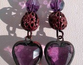 Earrings Valentine Vintage Amethyst Swarovski Hearts Vintage Filiigree Beads - MagdaleneJewels