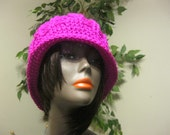 Crochet Hat-Neon Pink made to order
