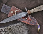 Custom Mountain Man double edged knife with prehistoric bison bone - theknife