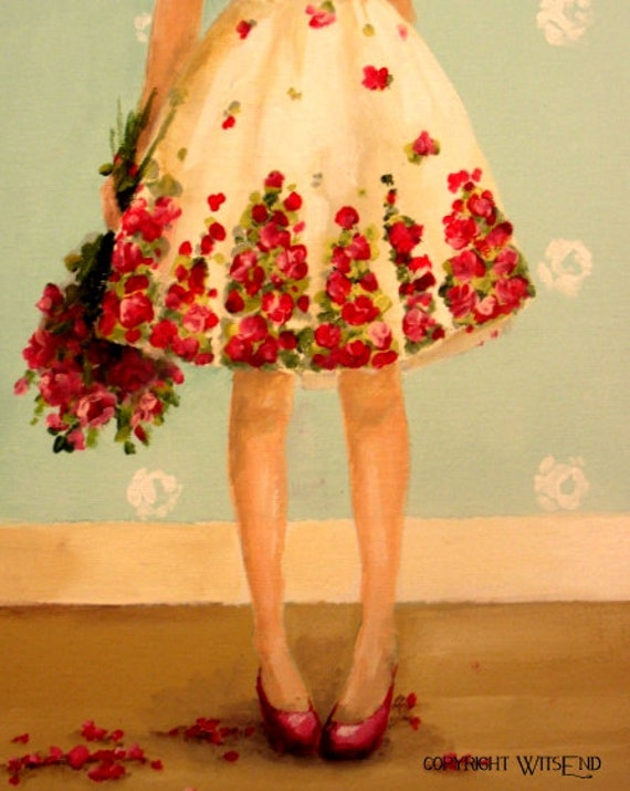 Rose Dress painting fashion art still life FREE USA shipping