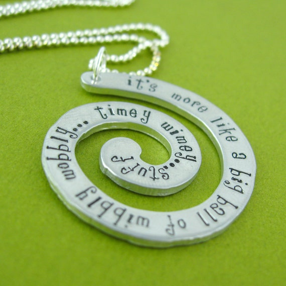 Doctor Who Timey Wimey Necklace - Hand Stamped Doctor Who Quote Necklace