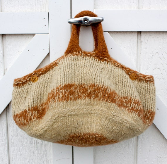Felted Wool Market Bag Tote in Dijon and Curry