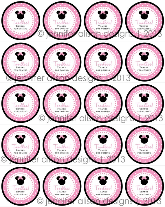 """INSTANT DOWNLOAD / Pink Minnie Mouse TOODLES 2"""" printable Party Circles  Cupcake Topper / Stickers / Thank You Tag"""