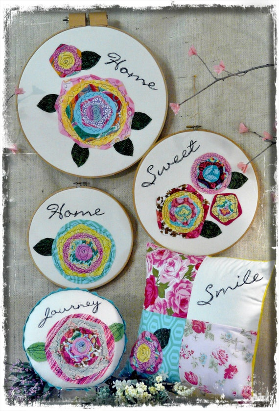Home is happy big hoop art PDF Pattern - wallhanging applique free motion flowers fabric embroidery sewing pillows