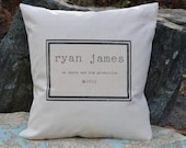 FREE SHIPPING 18 x 18  Personalized Baby Copyright Pillow Cover    Baby Gift