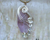 Amethyst Wire Wrapped Pendant Necklace in Silver - February Birthstone - CareMore