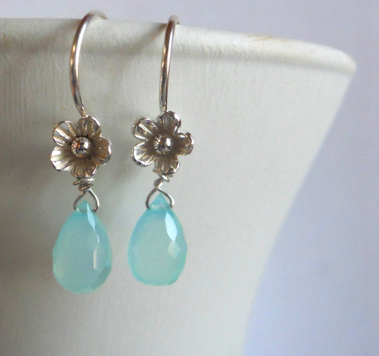 Teeny Aqua Blossom Flower Drops chalcedony earrings - $42.00 USD