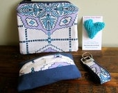 Valentine's Day Free Heart Pin Gift- Coin Purse, Keychain, Tissue Case: Organize Your Purse Kit in Navy & Lavender Southwest Print. - NFallonDesignStudio