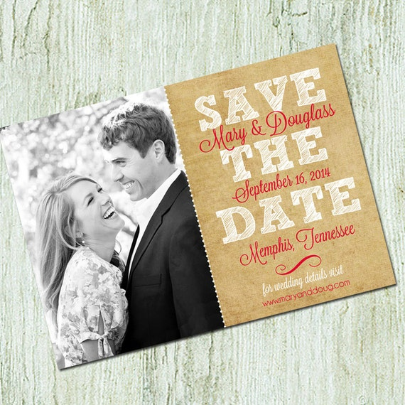 Photo Save the Date Card - Wedding Announcement - Digital file - Printable Save the date - Burlap