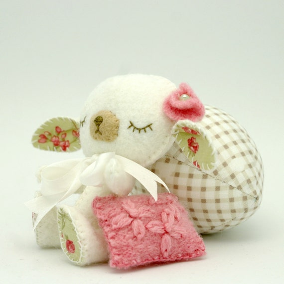 Wool Felt Lamb Lullaby Lamb Gingermelon Design Baby Shower Gift MADE TO ORDER