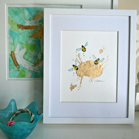 Original Watercolor Painting Bees, Bumble Bees, Honey Bees