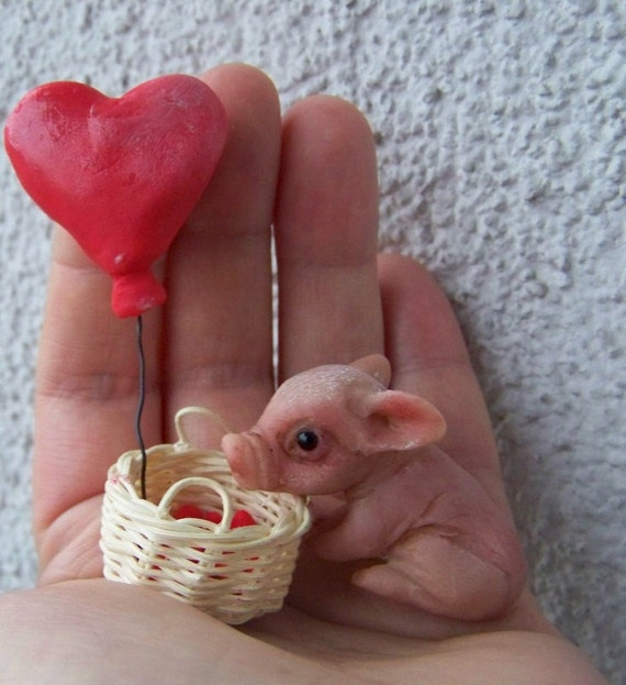 OOAK Miniature - little Valentine's piggy pig - made with love - by Malga