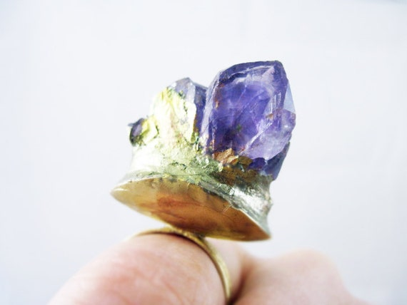 Kiss the Ground 2. Raw Amethyst crystal on chunky oxidized ring.