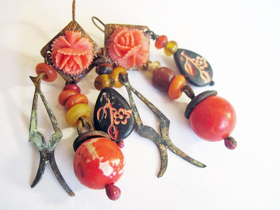 Intimate. Rustic Gypsy vintage, victorian tribal orange coral assemblage earrings