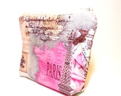 Medium Cotton Zipper Pouch Cosmetic Bag Pencil Case - Parisian Landmarks - handjstarcreations