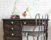Hand painted black desk with papered drawer fronts: Evadne - knackstudio