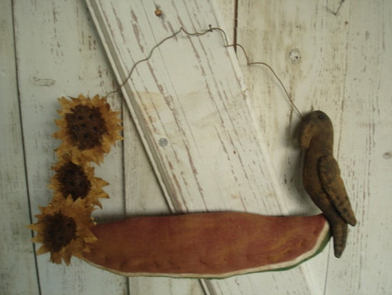 Watermelon, Crow and Sunflower Door Hanger, Primitive, Rustic