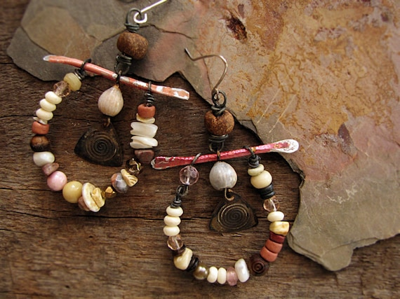 Nature - mixed beads hoops - earthy statement jewelry - tribal gypsy