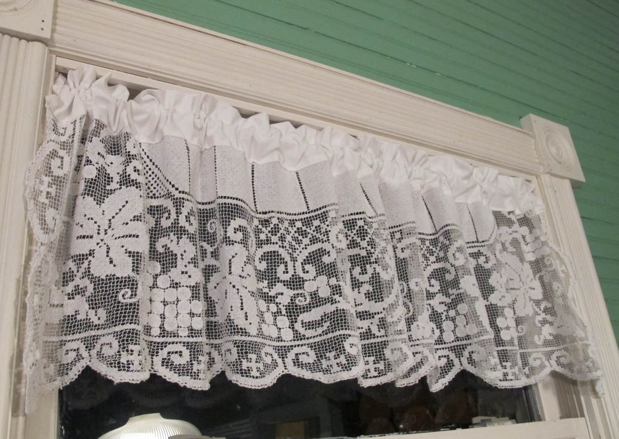 Lace Tablecloth Window Valance Repurposed Linens by BettyandBabs