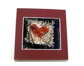 "Knitted fibre heart textile art card 5"" x 5"""
