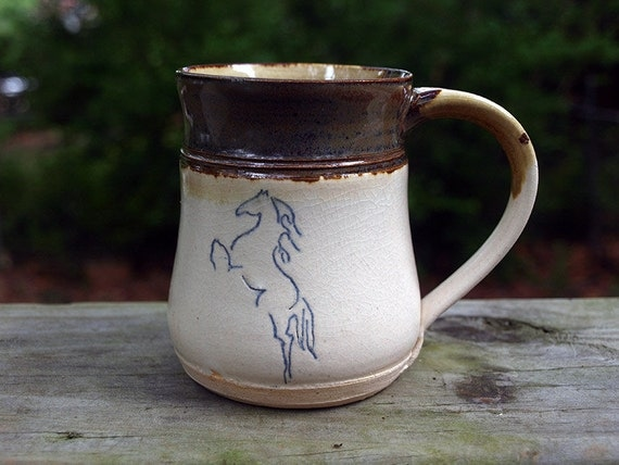 Coffee Cup with Horse by Future Relics Pottery