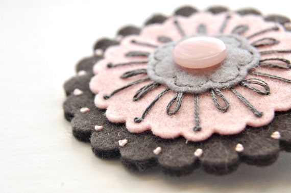 Blush Pink and Gray Brooch