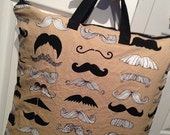 One - X-Large Sweet Bobbins Hanging Wet Bag- Where's My Stache - Taupe - 18x22 - SEAM SEALED - Boutique Quality