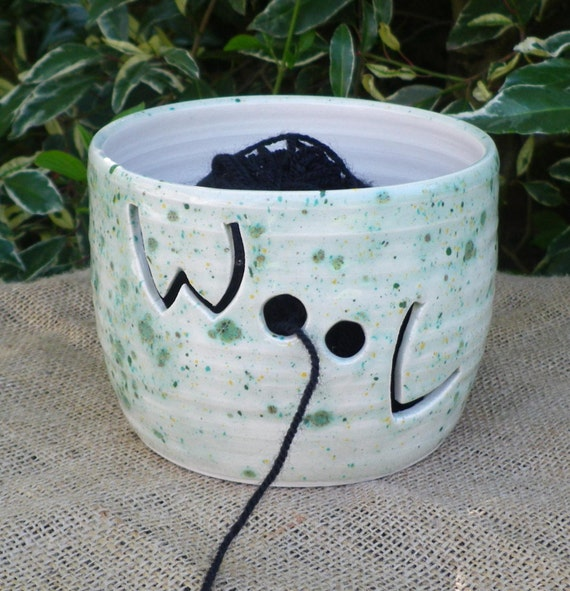 Yarn bowl knitting or crochet wool hand thrown pottery ceramic