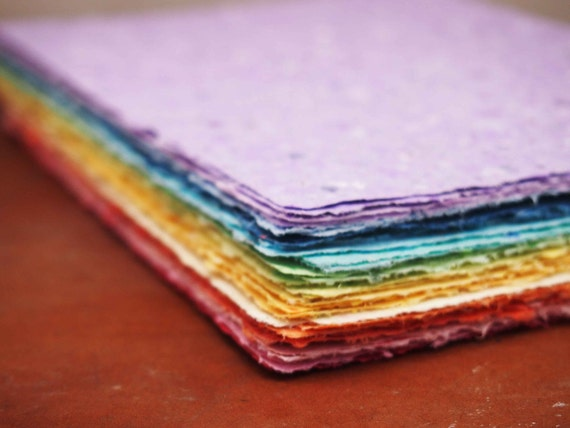 Rainbow Pack 34 sheets - Handmade Recycled Paper