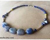KEALA...  blue calcite & lapis lazuli semi precious necklace