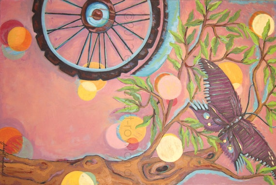 Modern Abstract Landscape Bike Painting-It Was A Beautiful Day- Original Oil on Canvas by Erin Fickert-Rowland