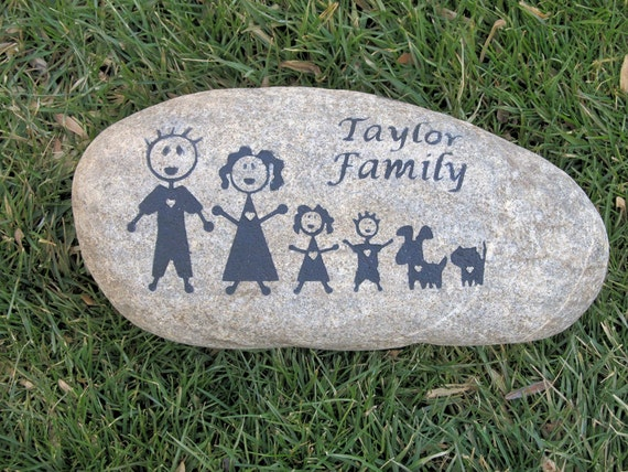 Garden Stone Family Engraved Personalized River by mainlinedesigns