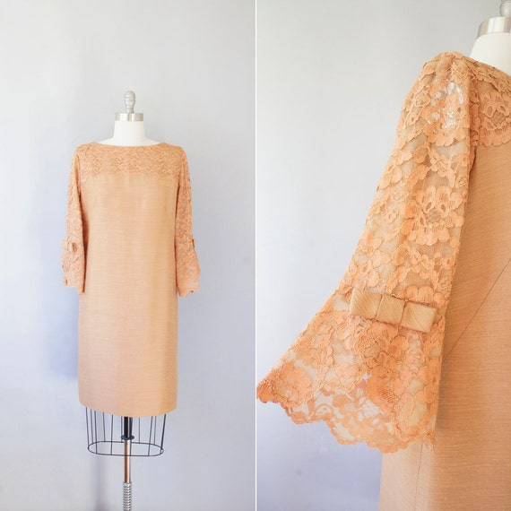 1960s shift dress / vintage 60s lace cocktail dress / Bells and Bows