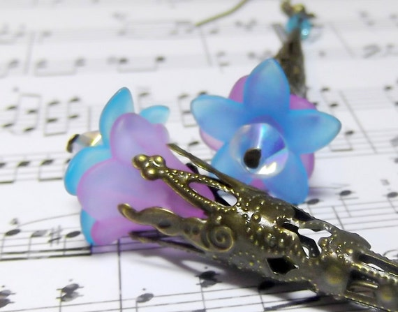 Filigree Cone Cap Earrings -Trumpet Long Filigree Flower - Acrylic Flower Cap Earrings - Long Filigree Cone