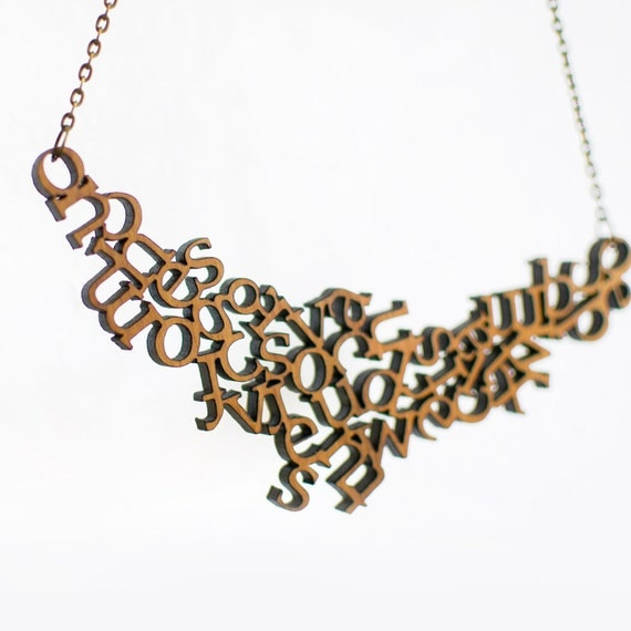 Modern Wooden Alphabet Necklace