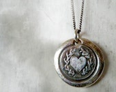 Laurel Heart. Wax Seal Necklace. Fine Silver Victorian Style Wax Seal Artisan Jewelry. Love Symbol. Sterling Chain - RenataandJonathan
