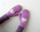 Mittens,Crochet Mittens,Winter Fashion, Lilac Gloves, Handwarmer, Crochet Gloves, Heart Gloves, Valentines Day Gift - SmilingKnitting