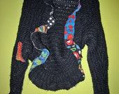 Recycled Crochet Black and Bright shrug sweater fits sm med lg