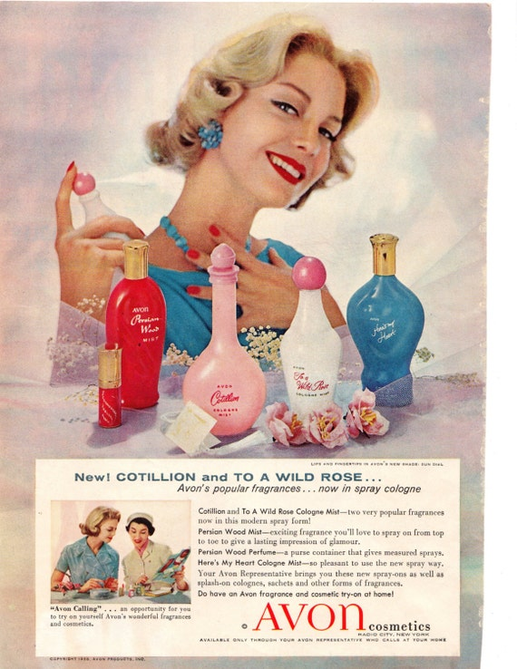 Avon Cosmetics 1958 original vintage ad Household Magazine Cotillion To A Wild Rose