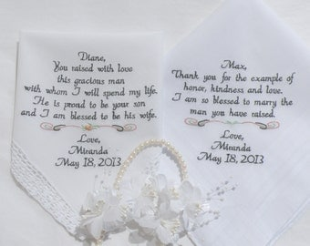 Mother In Law & Father In Law Wedding Gift Personalized Embroidered Hankies by Canyon Embroidery