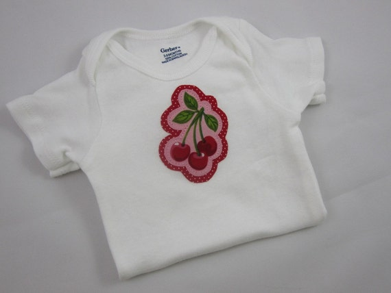 Cherry Onesie Bodysuit - Red and Pink - Gerber 3-9 Months Onesie - Baby Girl - Red Polka Dot Cherries
