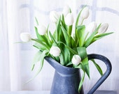 11x14 White Tulip Still Life - Home Decor - White Flowers - Shabby Chic - For Her - Home Decor - Botanical Print - Gray, White, Vintage - PhotoLadz