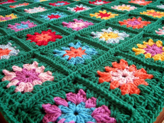 HAPPY Emerald Green Granny Square Crochet Blanket