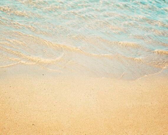 Beach Photography, Shoreline, Aqua,  Yellow,Seashore Home Decor,  Large Wall Art,  Beach Home Decor, Landscape Photography, 16x20 Print
