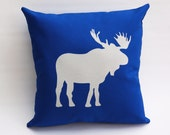 Boys room, Organic Pillow: Royal Blue, Moose print, eco-friendly kids room decor - pineapplepetekids