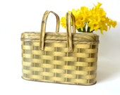 Vintage Faux Wicker Metal Picnic Basket ... Tin Picnic Basket, Metal, Woven, Tan, Yellow, Retro - cushionchicago