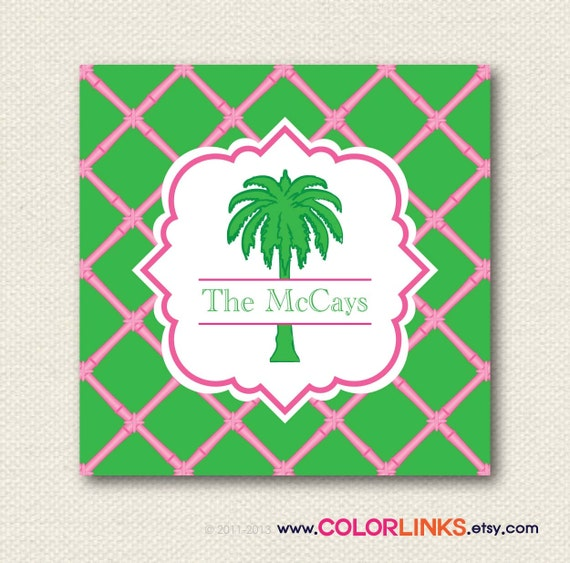 preppy palm tree personalized calling card, gift enclosure card, gift tags or stickers (set of 24)