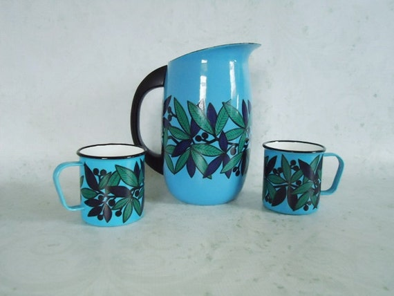 Finel Finland Enamelware Pitcher and Mugs - Vintage Modern Finel Finland Enamelware