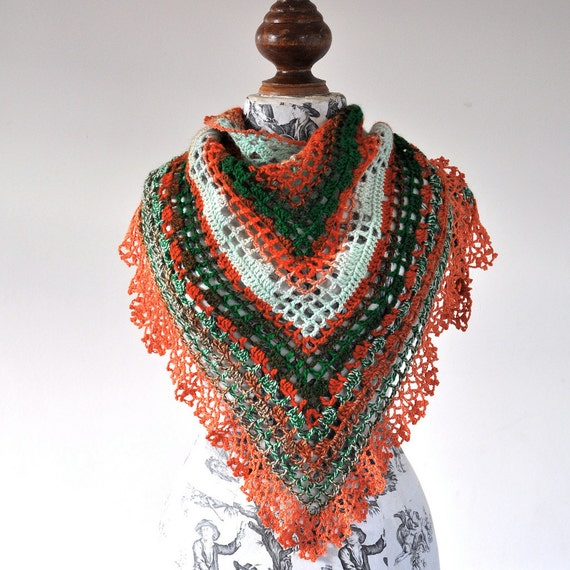 image of triangular crochet shawl