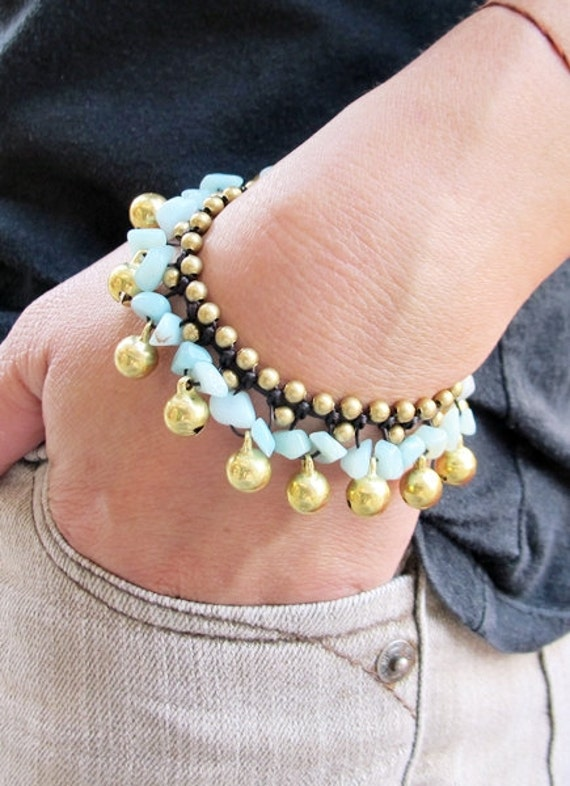 Ring Ring Bell Bracelet with Amazonite Stone